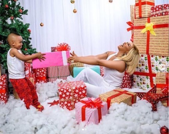 Tonto Dikeh shares beautiful Christmas card photos with her son Andre
