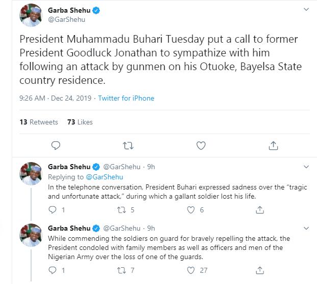 Buhari calls Jonathan over gunmen attack at his Bayelsa home