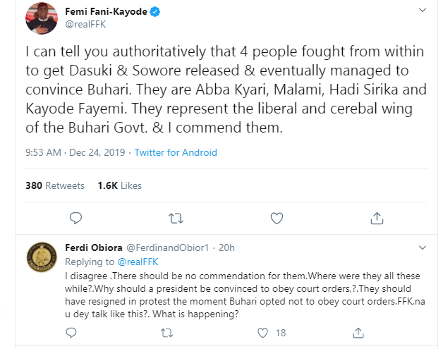 Abba Kyari, Fayemi and two ministers fought for release of Sowore and Dasuki - FFK