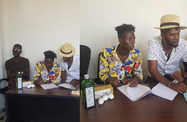 Ghanaian music executive signs new artist with Schnapps and eggs after being betrayed by his former artist (photos)