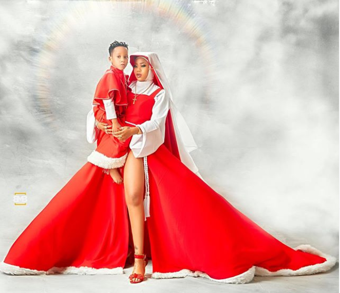 Toyin Lawani releases stylish Christmas card photos with her son Lordmaine
