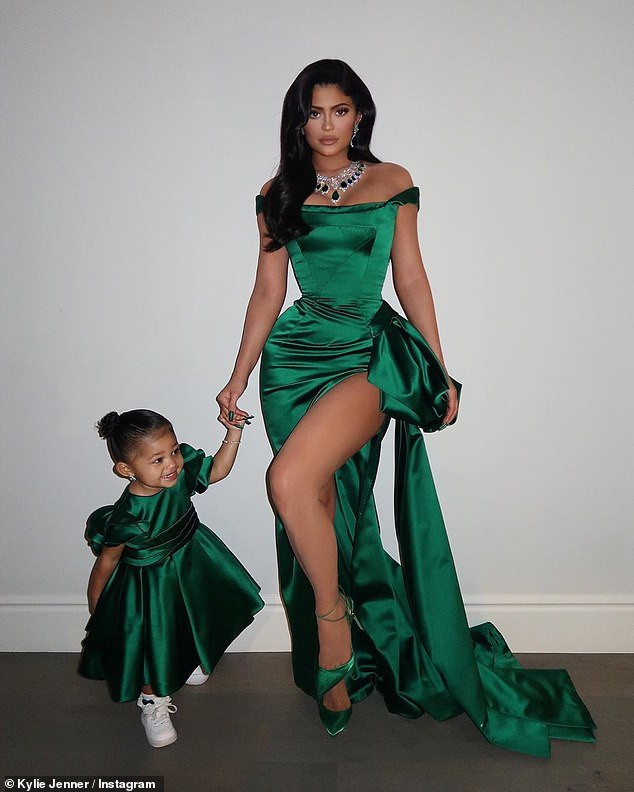 Kylie Jenner and daughter Stormi rock matching Ralph & Russo gowns to annual Kardashian Christmas Eve bash?(Photos)