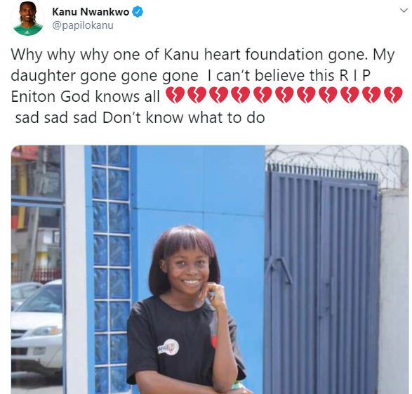 Legendary footballer, Kanu Nwaknwo mourns the death of his adopted daughter, Enitan