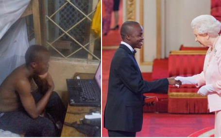 Man shares photos showing how he started the decade struggling from his room and ends it receiving an award from Queen Elizabeth