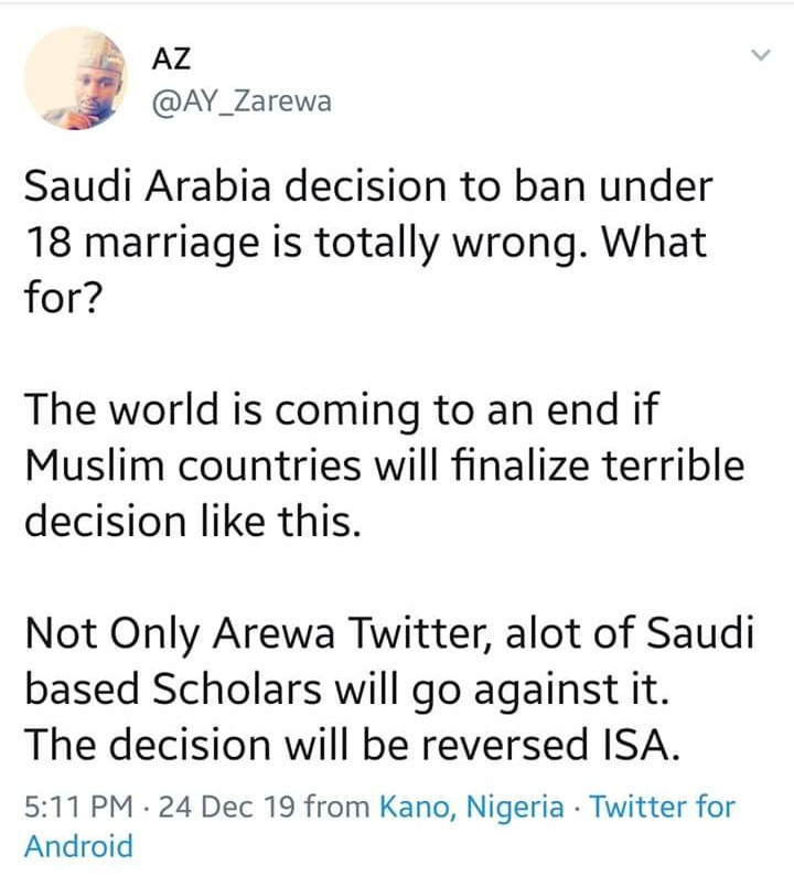Arewa Twitter users call out Saudi Arabia for banning marriage of persons under 18 years