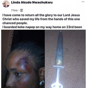 Lady narrates how she was pushed out of a moving vehicle by one-chance operators she overpowered