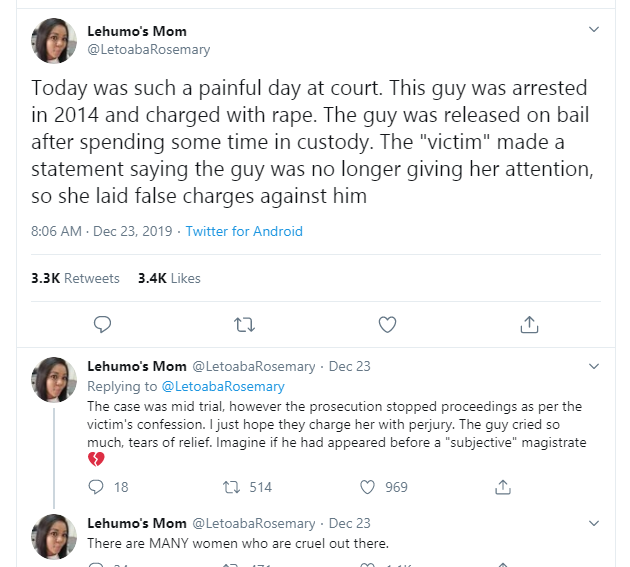 Twitter Stories: Lady who falsely accused her male friend of rape, confesses so she can 'die with a clear conscience'