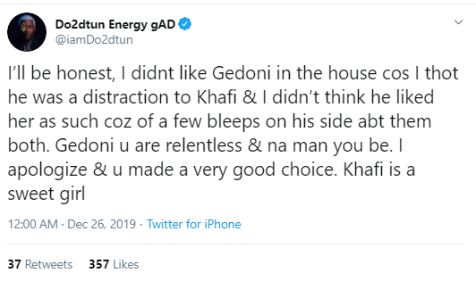 I thought he was a distraction to Khafi in the BBNaija house - OAP Dotun apologises as he congratulates Gedoni on his engagement to Khafi