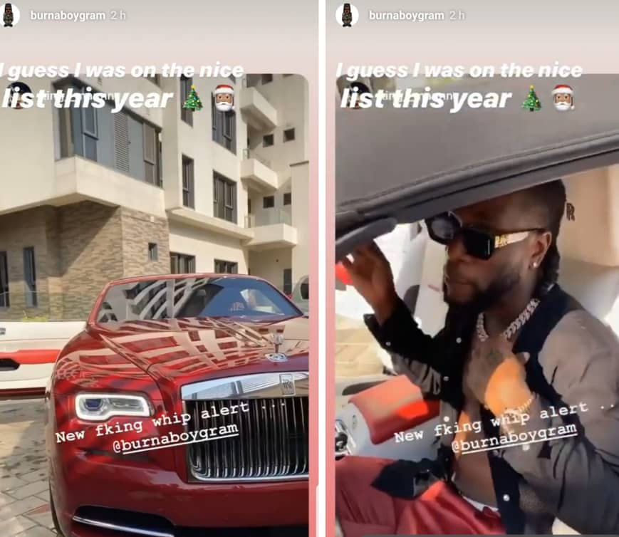BurnaBoy acquires Rolls Royce (photos/Video)