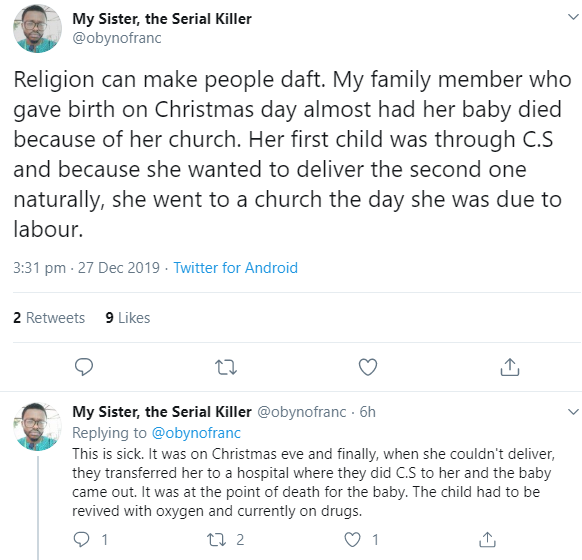 """""""Religion can make people daft"""" Man narrates how his relative nearly lost her baby after she went to church while in labour instead of the hospital"""
