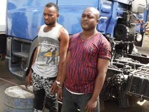 Police arrest 2 men in military camouflage for hijacking petrol tanker in Lagos