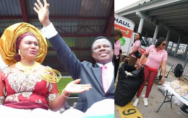 Wife of Anambra State Governor, Osodieme Obiano ignites controversy after being spotted handing gift items to the homeless in the US