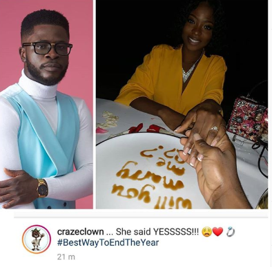 Comedian, Craze Clown gets engaged (photo)