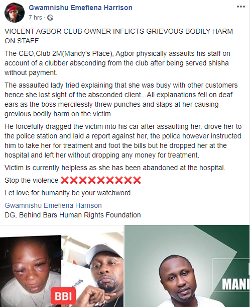 Club owner leaves his female staff with swollen eyes after allegedly beating her mercilessly in Delta state