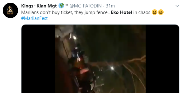 Chaos at Eko Hotel as fans try to gain entrance to Naira Marley