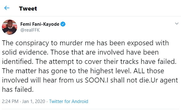 'A conspiracy to murder me has been exposed with solid evidence' - Femi Fani-Kayode alleges