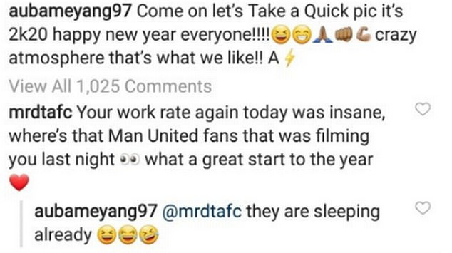 Pierre-Emerick Aubameyang takes a swipe at Manchester United fans after Arsenal
