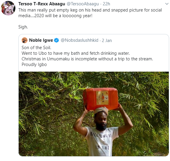 Noble Igwe receives criticisms for a photo he shared showcasing his hometown. He responds