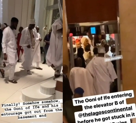 Video: Panic as Ooni of Ife gets stuck inside the elevator at a Lagos Hotel for almost 30 minutes (video)