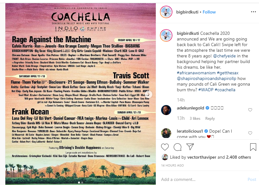 Coachella 2020 lineup announced, Seun Kuti only Nigerian artiste on the list
