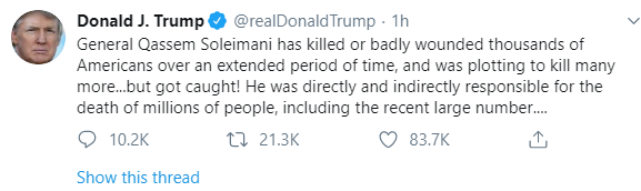 """""""Iran never won a war"""" Donald Trump taunts Iran as their supreme leader calls for Jihad following drone strike ordered by Trump which killed top Iranian general"""
