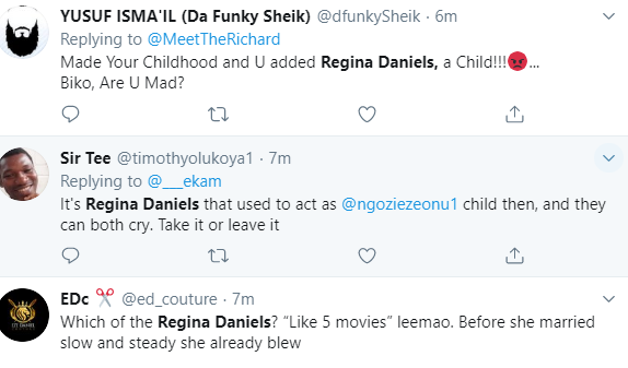 Nigerians react angrily after Regina Daniels is listed as a Nollywood legend