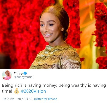 DJ Cuppy gives difference between being rich and being wealthy