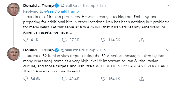Donald Trump vows to hit 52 Iranian sites after announcement of 35 Americans targeted for retaliatory attacks over General Soleimani