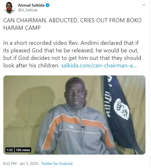 Adamawa CAN chairman, Lawan Andimi abducted by Boko Haram, cries out for help in new video
