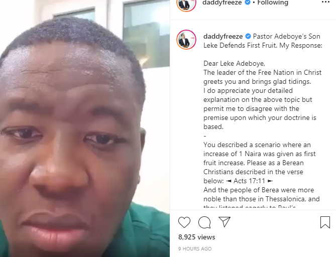 Daddy Freeze tackles Pastor Adeboye