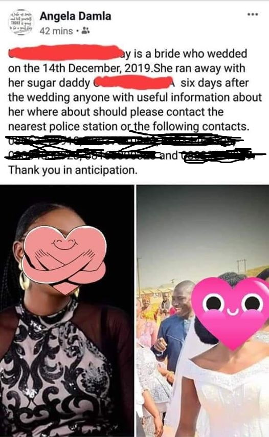 Nigerian woman allegedly dumps her husband 6 days after wedding and runs away with her boyfriend
