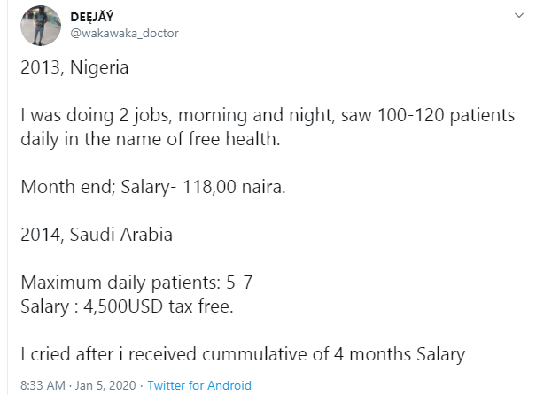 I cried after I received my salary in Saudi Arabia - Nigerian doctor writes after relocating to the Middle Eastern country