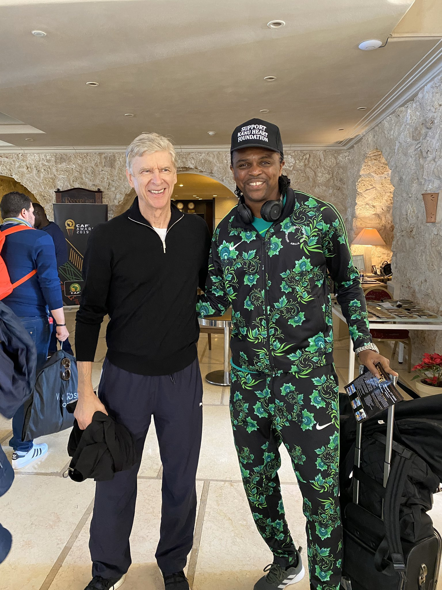 Kanu Nwankwo pictured with Arsene Wenger at CAF Awards