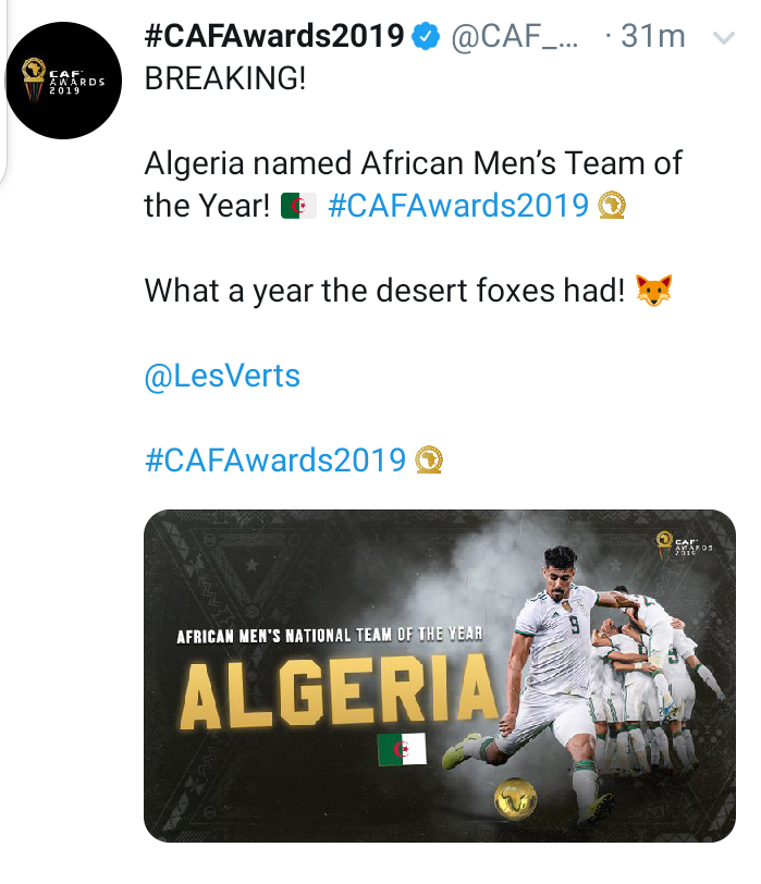 #CAFawards : Algeria wins Best Men
