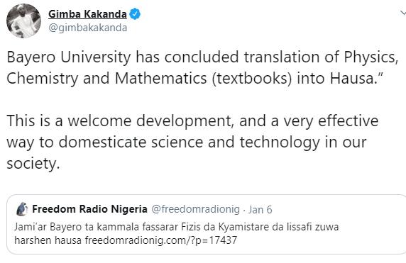 Bayero University allegedly translates Physics, Chemistry and Mathematics textbooks into Hausa