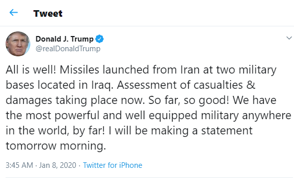 Iran fires more than a dozen missiles at US military bases in Iraq, threatens to attack Dubai, Israel if US responds
