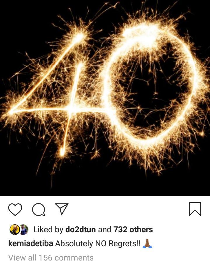 """Absolutely no regrets"" Kemi Adetiba says as she turns 40"