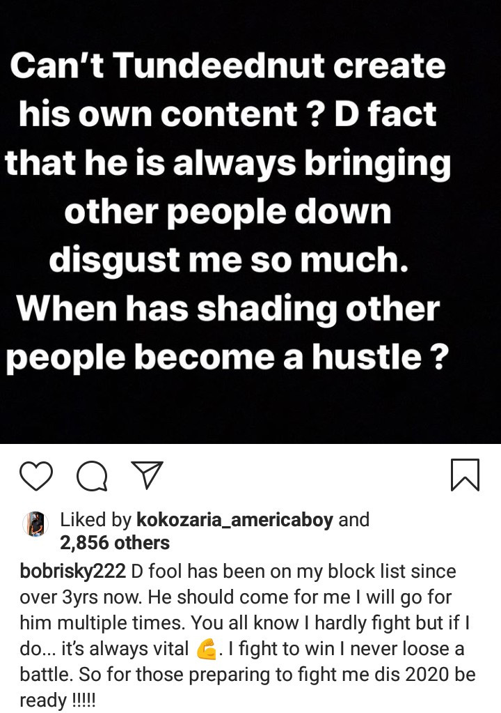 Tunde Ednut And Bobrisky : Bob also stated that tunde ednut is not on wizkid's league.