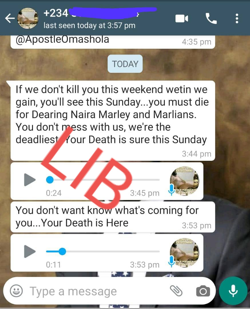 Apostle Chris Omashola claims Marlians are after his life; shares screenshots of death threat messages