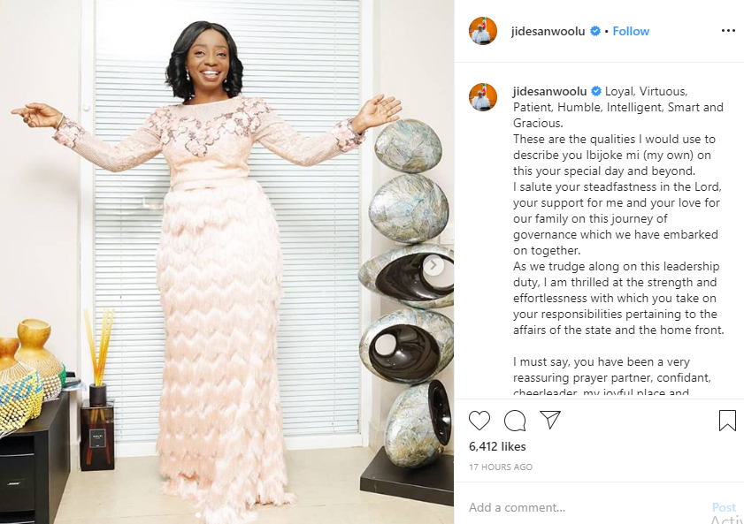 Governor Sanwo-Olu pens down romantic message to his wife on her birthday