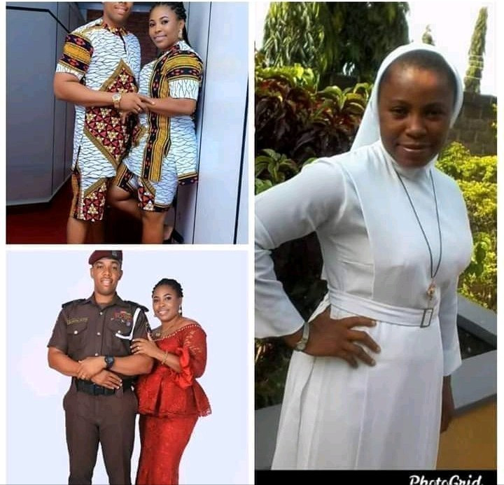 Viral photos of a Catholic Reverend Sister who allegedly quit her religious profession to marry an officer