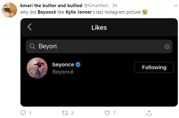 Beyonce liked Kylie Jenner