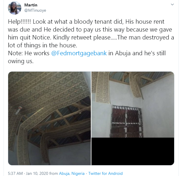 Tenant who defaulted on his rent, destroys landlord