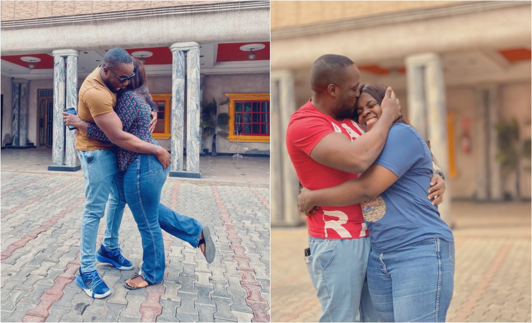 Nigerians react to photo showing a man hugging his sister after reuniting with her after 3 years