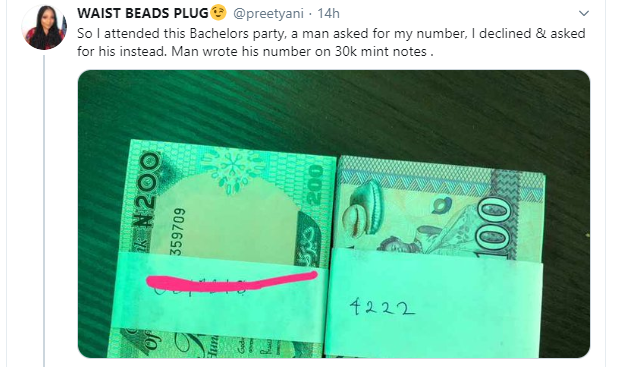 Twitter Stories: Nigerian lady narrates how a man gave her his number on N30k mint notes