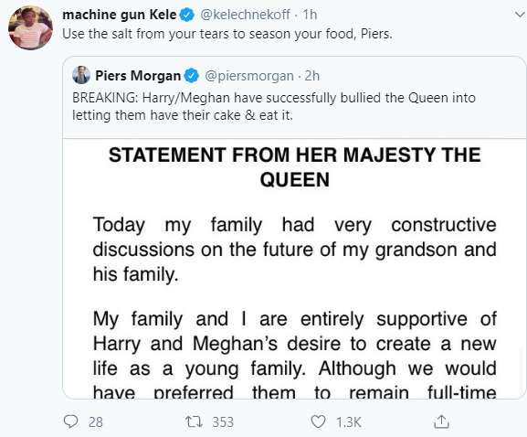 Piers Morgan reacts in outrage to The Queen