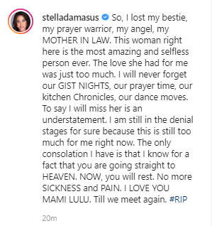"""""""I lost my bestie"""" Stella Damasus mourns the death of her mother-in-law"""