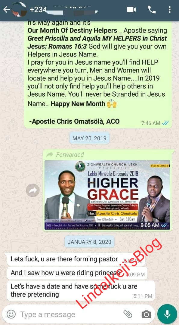 """Apostle Chris Omashola reveals rich """"sugar mummies and Lekki big girls"""" are sending him nudes and begging him for sex after Naira Marley reshared his sextape"""