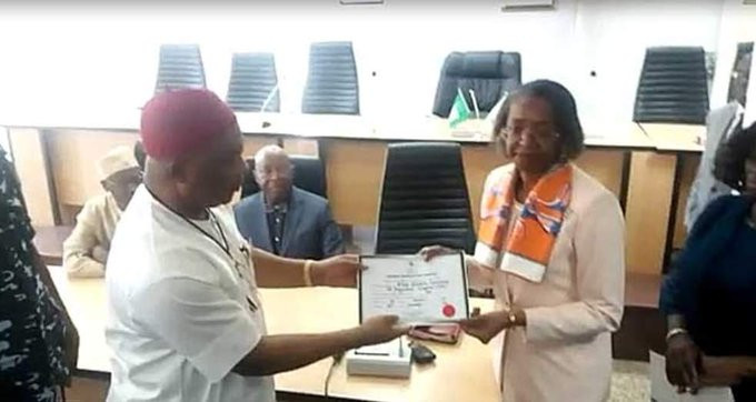 INEC issues Imo state governor-elect, Hope Uzodinma, his Certificate of Return (photos)