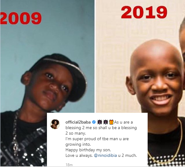 Tuface shares old and recent photo of his lookalike son to celebrate him on his 14th birthday